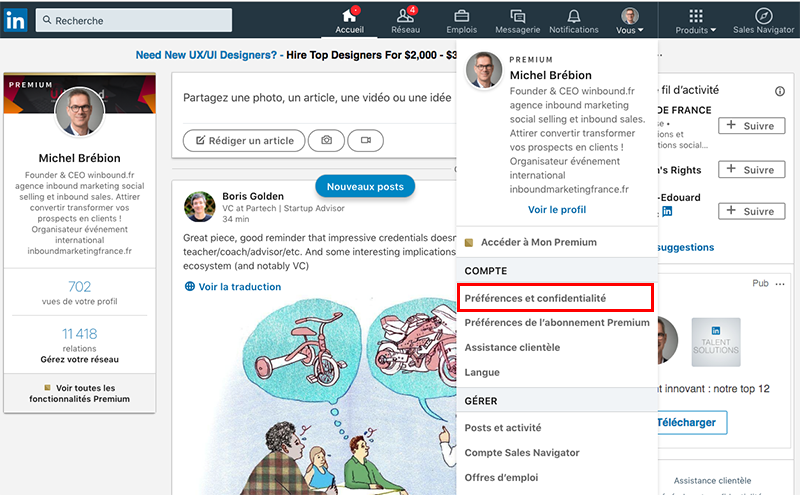 linkedin-preferences-et-confidentialite